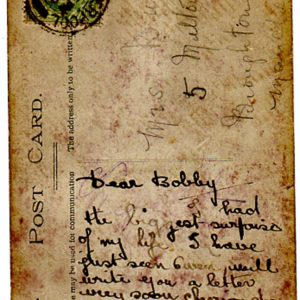 Some Lass, reverse of card, 1910